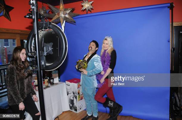 Corey Feldman and Courtney Anne Mitchell attend the EcoLuxe Lounge Park City on January 21 2018 in Park City Utah