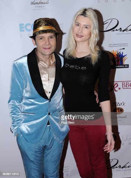 Corey Feldman and Courtney Anne Mitchell attend the EcoLuxe Lounge - Park City on January 21, 2018 in Park City, Utah.
