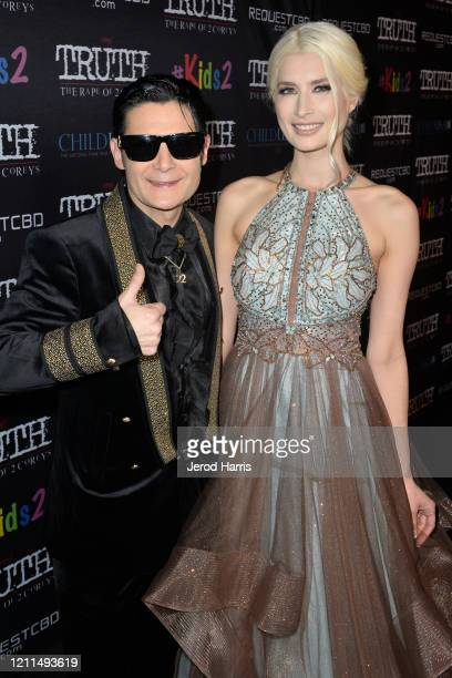 Corey Feldman and Courtney Anne Mitchell attend the Premiere of 'My Truth: The Rape Of Two Coreys' at Directors Guild Of America on March 09, 2020 in...