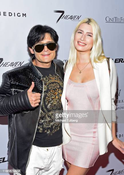 "Corey Feldman and Courtney Anne Mitchell attend the premiere of the film ""Acceleration"" at AMC Broadway 4 on November 05, 2019 in Santa Monica,..."