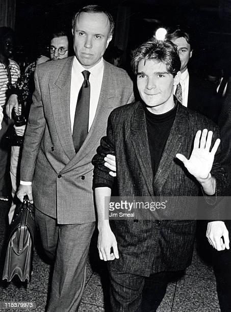 Corey Feldman And Lawyer Richard Hirsch during Corey Feldman's Drug Possession Hearing April 4 1990 at Criminal Court Building in Los Angeles...