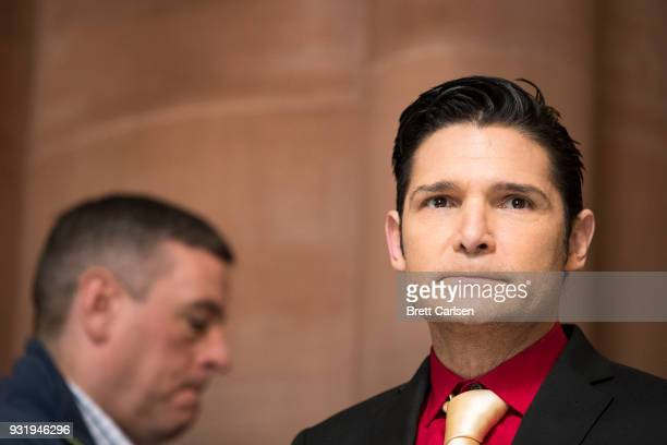 Corey Feldman arrives for a press conference in support of the Child Victims Act on March 14 2018 at the New York State Capitol in Albany New York