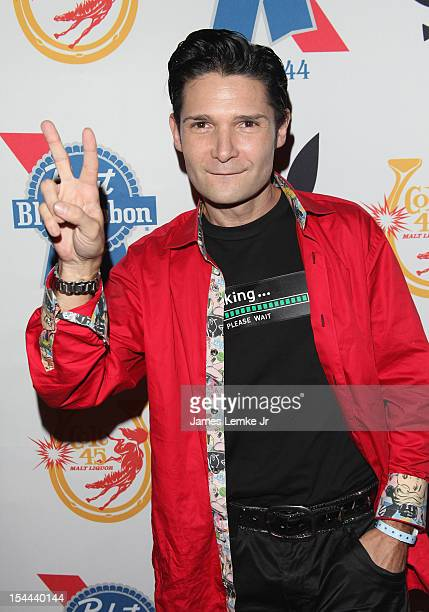 Corey Feldman attends the Snoop Dogg Presents Colt 45 Works Every Time mansion party with Evan and Daren Metropoulos at The Playboy Mansion on...