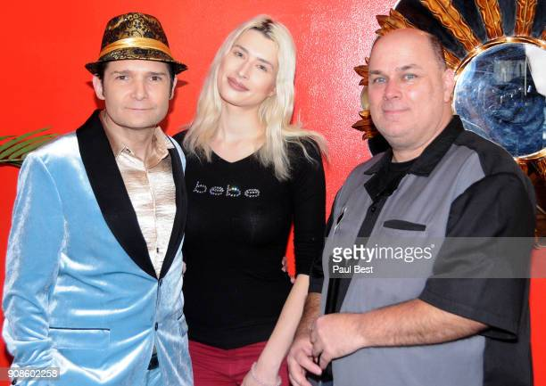 Corey Feldman, Courtney Anne Mitchell, and Jeffrey K. Howard attend the EcoLuxe Lounge - Park City on January 21, 2018 in Park City, Utah.