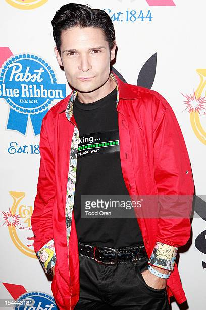 Corey Feldman poses at the Snoop Dogg Presents Colt 45 Works Every Time at The Playboy Mansion Party with Evan and Daren Metropulos on October 19...