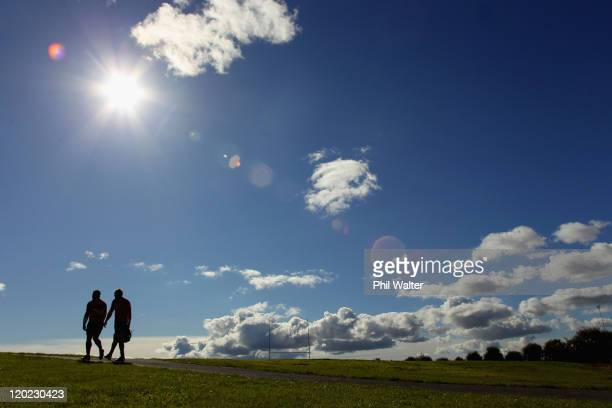 Corey Flynn and Ali Williams of the All Blacks leave the field following a New Zealand All Blacks training session at Trusts Stadium on August 2 2011...