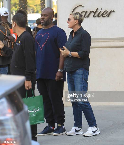 Corey Gamble and Ellen DeGeneres are seen on December 12, 2019 in Los Angeles, California.