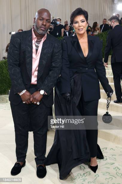 """Corey Gamble and Kris Jenner attend the 2021 Met Gala benefit """"In America: A Lexicon of Fashion"""" at Metropolitan Museum of Art on September 13, 2021..."""