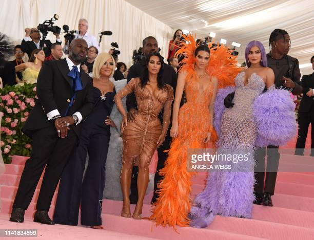 Corey Gamble Kris Jenner Kanye West Kim Kardashian West Kendall Jenner Kylie Jenner and Travis Scott arrives for the 2019 Met Gala at the...