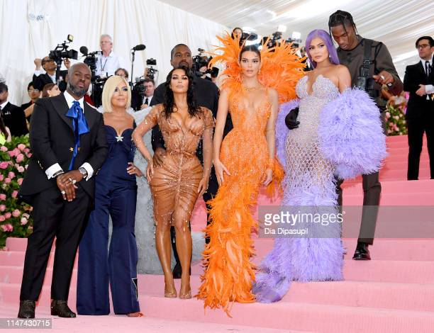 Corey Gamble Kris Jenner Kanye West Kim Kardashian West Kendall Jenner Kylie Jenner and Travis Scott attend The 2019 Met Gala Celebrating Camp Notes...