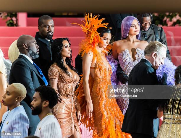 Corey Gamble Kris Jenner Kim KardashianWest Kanye West Kendall Jenner Kylie Jenner and Travis Scott are seen arriving to the 2019 Met Gala...