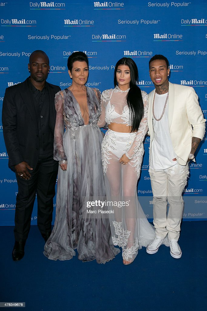 Corey Gamble, Kris Jenner, Kylie Jenner and Tyga attend the 'DailyMail.com Seriously Popular Yacht Party' on June 24, 2015 in Cannes, France.