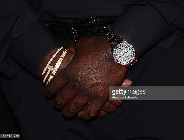 Corey Gamble watch and bracelet detail arrives at the launch of OUE Skyspace LA at the US Bank Tower on July 14 2016 in Los Angeles California
