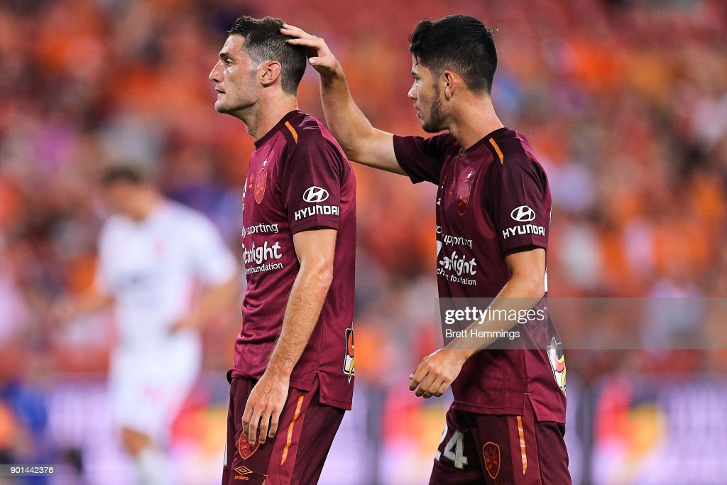 Corey Gameiro of Brisbane reacts after a shot at goal during the round 14 A-League match between the Brisbane Roar and the Western Sydney Wanderers at Suncorp Stadium on January 5, 2018 in Brisbane, Australia.