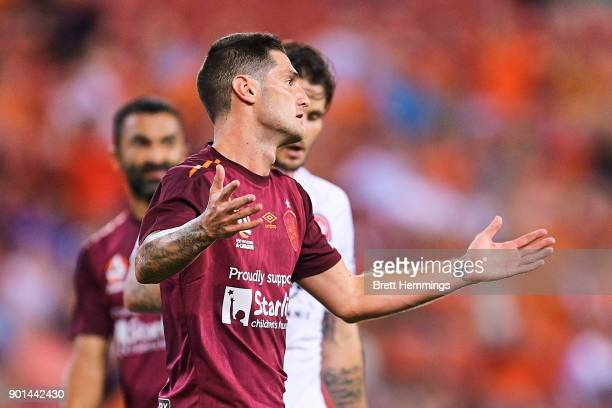 Corey Gameiro of Brisbane reacts after a shot at goal during the round 14 ALeague match between the Brisbane Roar and the Western Sydney Wanderers at...