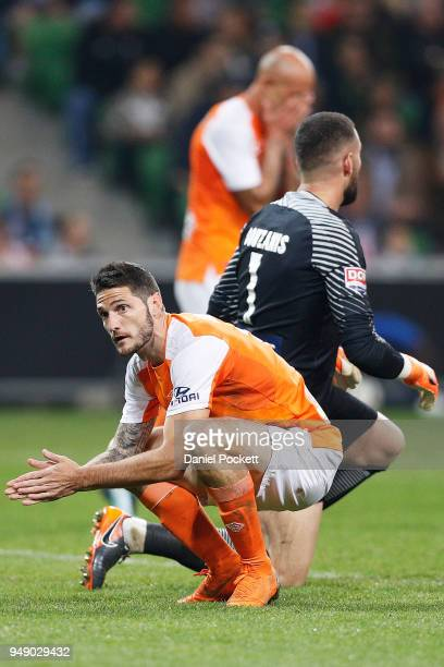 Corey Gameiro of Brisbane Roar reacts during the ALeague Elimination Final match between the Melbourne City and the Brisbane Roar at AAMI Park on...