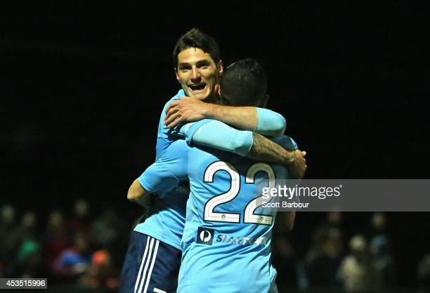 Corey Gameiro of Sydney FC celebrates after scoring the first goal of the game during the FFA Cup match between Melbourne City and Sydney FC at...