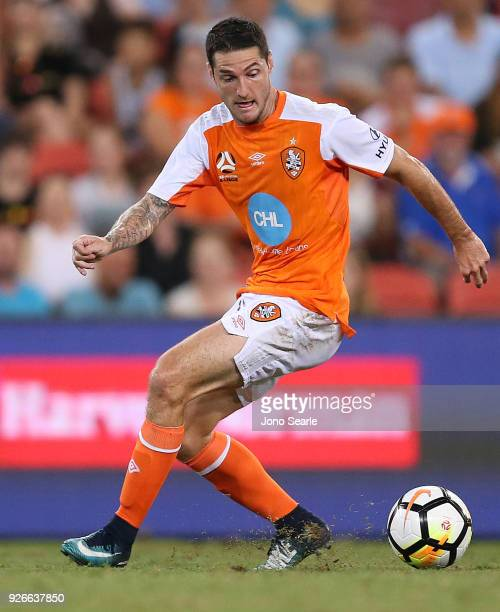 Corey Gameiro of the Brisbane Roar controls the ball during the round 22 ALeague match between the Brisbane Roar and Adelaide United at Suncorp...
