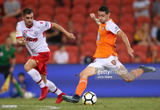 Corey Gameiro of the Brisbane Roar takes a shot during the round 22 ALeague match between the Brisbane Roar and Adelaide United at Suncorp Stadium on...