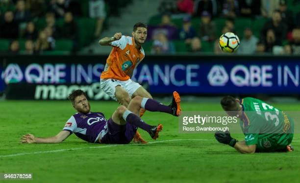 Corey Gameiro of the Roar fails a goal attempt at nib Stadium on April 14 2018 in Perth Australia