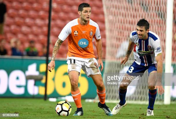 Corey Gameiro of the Roar in action during the round 21 ALeague match between the Brisbane Roar and the Newcastle Jets at Suncorp Stadium on February...