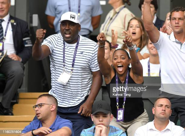 Corey Gauff and Candi Gauff attend day five of the Wimbledon Tennis Championships at All England Lawn Tennis and Croquet Club on July 05 2019 in...