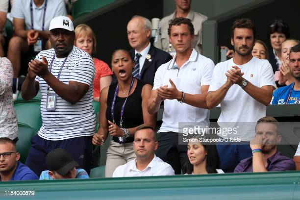 Corey Gauff and Candi Gauff parents of Cori Gauff celebrate as she wins a point during her Ladies' Singles 3rd Round match against Polona Hercog on...