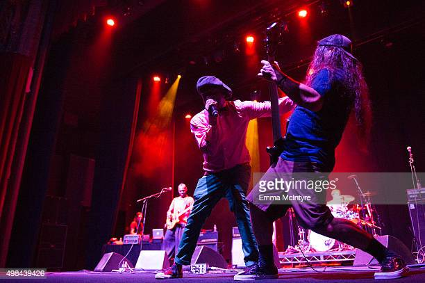 Corey Glover and Robert Trujillo perform live at the premiere of Jaco at The Theater at The Ace Hotel on November 22 2015 in Los Angeles California