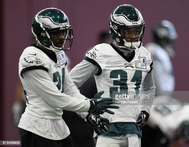 Corey Graham and Jalen Mills of the Philadelphia Eagles look on during Super Bowl LII practice on February 2 2018 at the University of Minnesota in...