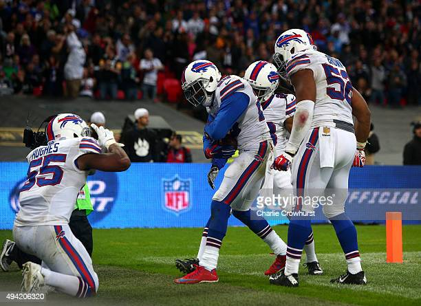 Corey Graham of Buffalo Bills celebrates after he scores a touchdown with team mates during the NFL match between Jacksonville Jaguars and Buffalo...