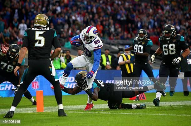 Corey Graham of Buffalo Bills scores a touchdown during the NFL match between Jacksonville Jaguars and Buffalo Bills at Wembley Stadium on October 25...