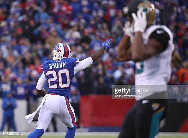 Corey Graham of the Buffalo Bills celebrates after the Bills stopped the Jacksonville Jaguars on fourth down late in the fourth quarter during NFL...