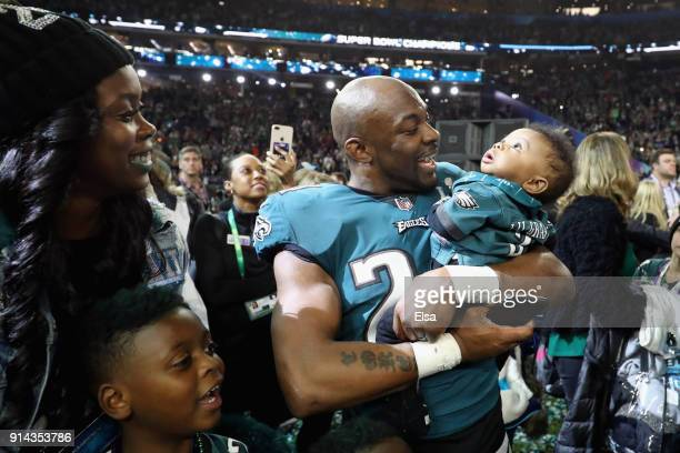 Corey Graham of the Philadelphia Eagles and his family celebrate after the Eagles defeated the New England Patriots 4133 in Super Bowl LII at US Bank...