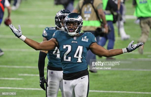 Corey Graham of the Philadelphia Eagles celebrates a win over the New England Patroits during Super Bowl Lll at US Bank Stadium on February 4 2018 in...