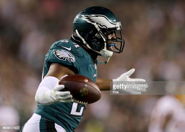 Corey Graham of the Philadelphia Eagles celebrates his interception in the fourth quarter against the Washington Redskins on October 23 2017 at...