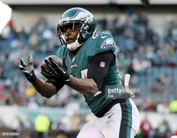 Corey Graham of the Philadelphia Eagles intercepts a pass in the fourth quarter against the Chicago Bears on November 26 2017 at Lincoln Financial...