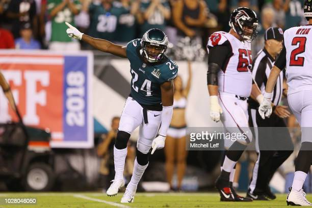 Corey Graham of the Philadelphia Eagles reacts during the first half against the Atlanta Falcons at Lincoln Financial Field on September 6 2018 in...
