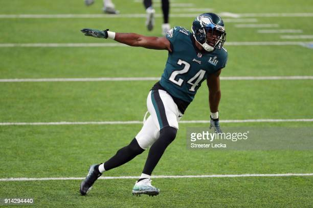Corey Graham of the Philadelphia Eagles warms up prior to Super Bowl LII against the New England Patriots at US Bank Stadium on February 4 2018 in...