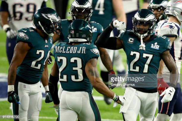 Corey Graham Rodney McLeod and Malcolm Jenkins of the Philadelphia Eagles celebrate against the New England Patriots during the second quarter in...