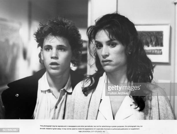 Corey Haim and Barbara Williams look shocked in a scene from the Universal Studio movie 'Watchers' circa 1988