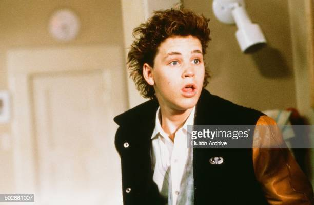 Corey Haim looks shocked in a scene from the Universal Studio movie 'Watchers' circa 1988