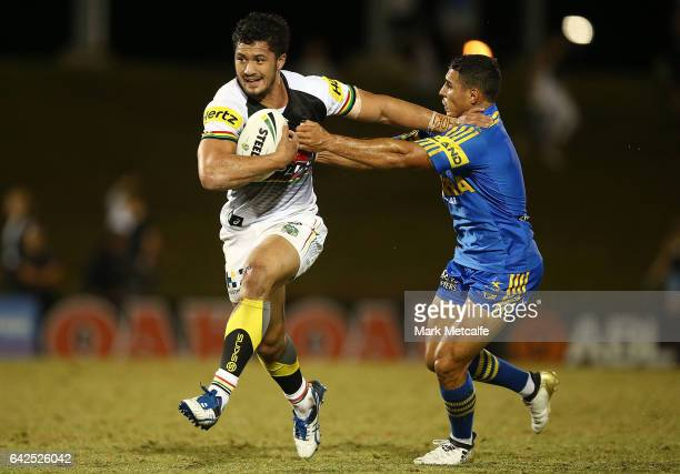 Corey Harawira Naera of the Panthers is tackled during the NRL Trial match between the Penrith Panthers and Parramatta Eels at Pepper Stadium on...