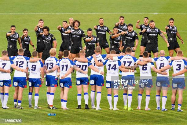 Corey Harawira-Naera of the Kiwis and his team mates perform the Haka prior to the Rugby League Test match between the New Zealand Kiwis and the...