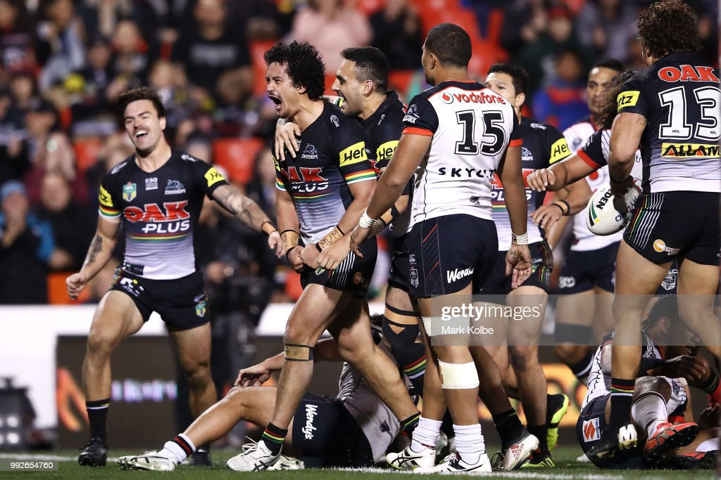 Corey Harawira-Naera of the Panthers celebrates scoring a try during the round 17 NRL match between the Penrith Panthers and the New Zealand Warriors at Panthers Stadium on July 6, 2018 in Penrith, Australia.