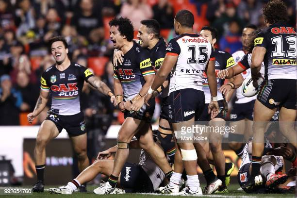 Corey Harawira-Naera of the Panthers celebrates scoring a try during the round 17 NRL match between the Penrith Panthers and the New Zealand Warriors...