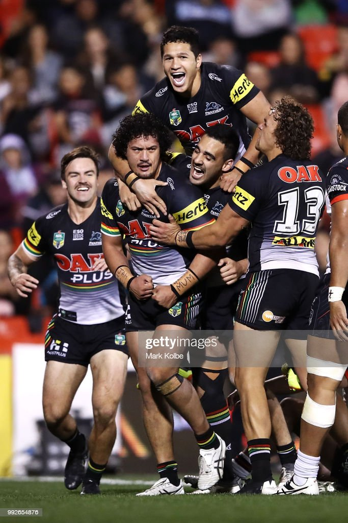 Corey Harawira-Naera of the Panthers celebrates with his team mates after scoring a try during the round 17 NRL match between the Penrith Panthers and the New Zealand Warriors at Panthers Stadium on July 6, 2018 in Penrith, Australia.