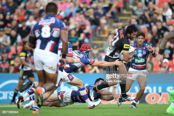 Corey HarawiraNaera of the Panthers makes a break on his way to scorea try during the round four NRL match between the Penrith Panthers and the...