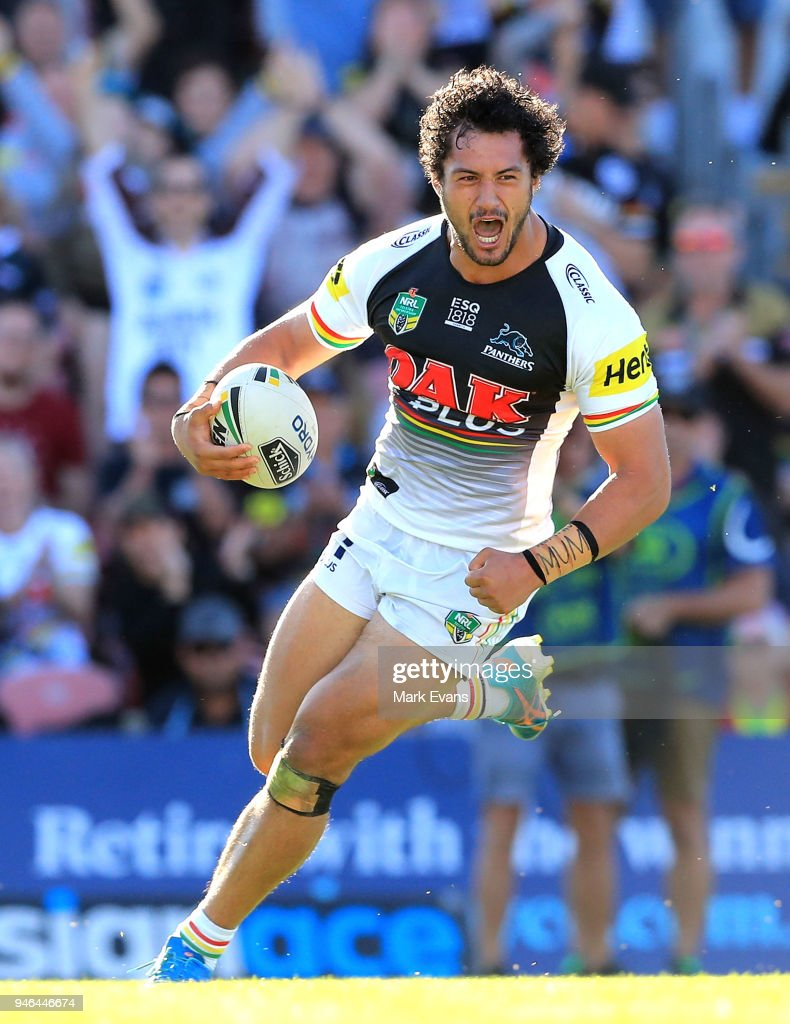 Corey Harawira-Naera of the Panthers scores a try during the round six NRL match between the Penrith Panthers and the Gold Coast Titans on April 15, 2018 in Penrith, Australia.