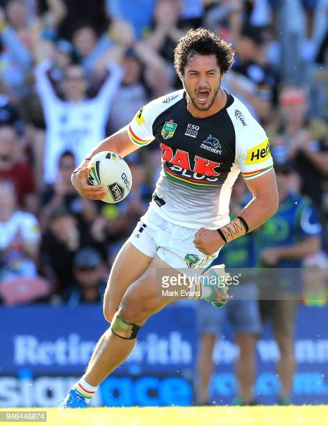 Corey HarawiraNaera of the Panthers scores a try during the round six NRL match between the Penrith Panthers and the Gold Coast Titans on April 15...