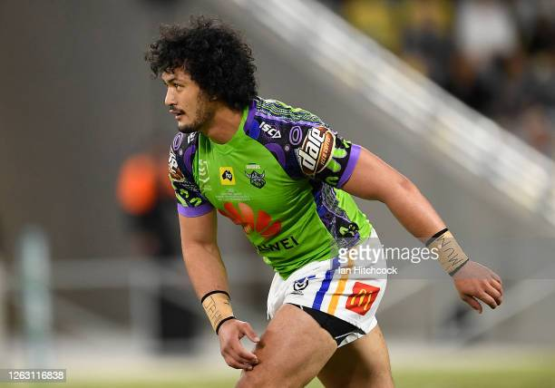 Corey HarawiraNaera of the Raiders looks on during the round 12 NRL match between the North Queensland Cowboys and the Canberra Raiders at QCB...